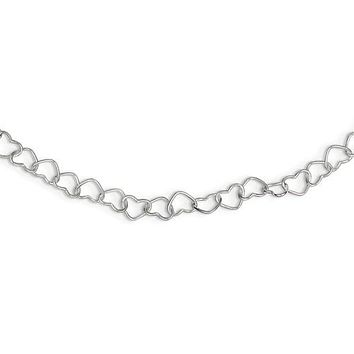 925 Sterling Silver Link Hearts Necklace