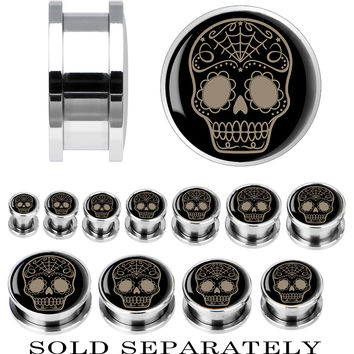 Steel Sugar Skull Screw Fit Plug