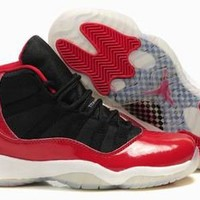 jordan 11 women sneakers fire red and black