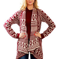 Karla Aztec Waterfall Open Cardigan in Wine Red