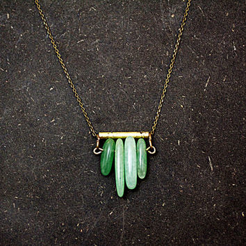 Art deco style aventurine chevron necklace - green aventurine on antique gold / black patinated bar. Small statement necklace for her.