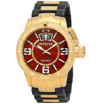 Invicta 10608 Men's Corduba Gold Tone Red Dial Polyurethane Rubber Strap Quartz Watch