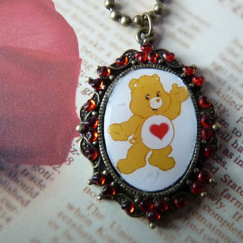 Tenderheart Care Bear Red Heart Necklace Kawaii TV - Bronze Metallic Ball Chain Short