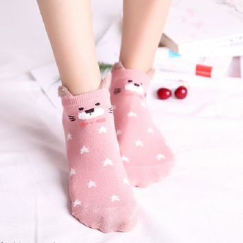 Cute Animal Cotton Socks Female Kawaii Cat With Dog Summer Short Socks Slippers Women Casual Soft Funny Boat Socks Dropshipping