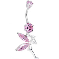 925 Sterling Silver Pink CZ Forest at Midnight Fairy Dangle Belly Ring | Body Candy Body Jewelry