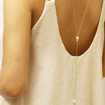 Pearl Back Necklace // Bridal Jewelry, Backdrop necklace with Pearl, Back chain for Back less dress, low back dress