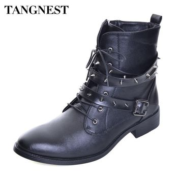 Tangnest NEW Autumn Motorcycle Boots