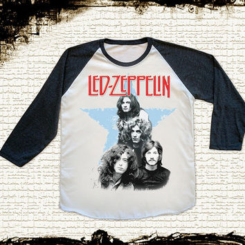 Size M -- LED ZEPPELIN Shirts Led Zeppelin T Shirts Heavy Metal Baseball Shirts Jersey Raglan Shirts Long Sleeve Unisex Shirts Women Shirts