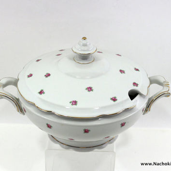 1900s Soup Tureen, Pink Roses on White, Bavarian China