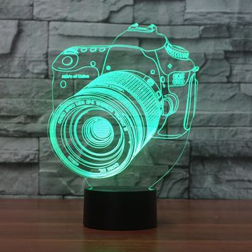 3D Illusion Night Light  LED Light 7 Color with Touch Switch USB Cable Nice Gift Home Office Decorations, Camera