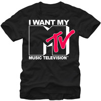 MTV T-shirt - I Want My MTV Classic Advertising Slogan Men's Shirt | Black