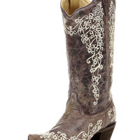 Women's Brown Crater Bone Embroidery Boot - A1094