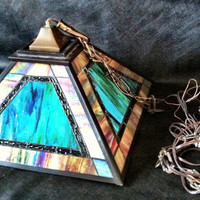 Dale Tiffany Signed Iridescent Stained Glass Lamp Fixture