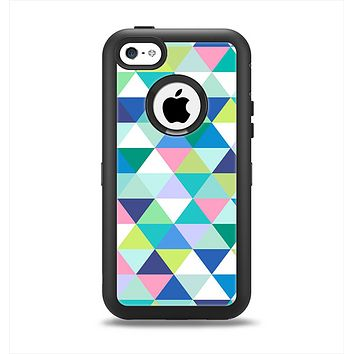 The Vibrant Fun Colored Triangular Pattern Apple iPhone 5c Otterbox Defender Case Skin Set