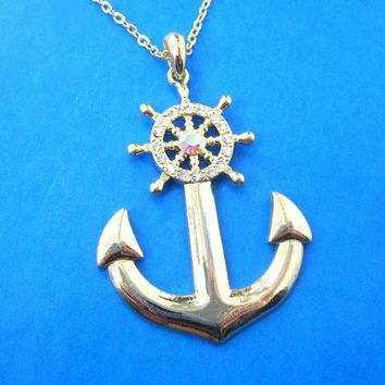 Anchor and Wheel Shaped Nautical Themed Pendant Necklace in Gold | DOTOLY