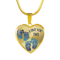 Mother Twin Boys Baby Footprints Necklace Bracelet
