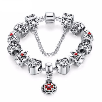 Exquisite Heart Crown Charm Bracelet - Silver
