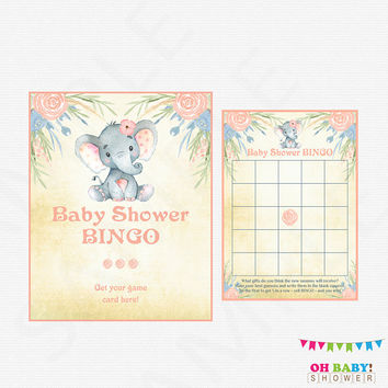 Baby Shower BINGO, Elephant Baby Shower Bingo, Bingo Sign Printable Baby Shower Games Girl Baby Shower, Baby Bingo, Printable Download, ELWP