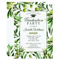 Elegant Olive Boho Garden Graduation Party Card