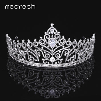 Mecresh Big Water-Drop CZ Bridal Tiara Crown Gorgeous Silver/Gold-Color Leaf Crystal Princess Wedding Hair Accessories MHG084