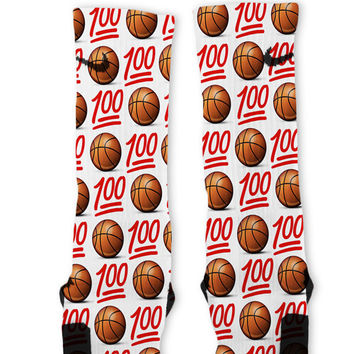 100 Basketball Emoji Custom Nike Elite Socks
