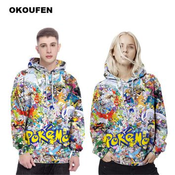 OKOUFEN Harajuku Anime Cartoon Hoodies Adventure Time/Totoro/ Kawaii Clothes 3D Hooded Sweatshirt Sudaderas Mujer 2018Kawaii Pokemon go  AT_89_9