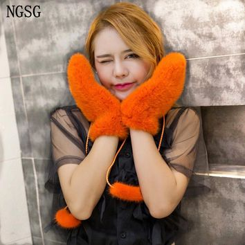NGSG Winter Women Mink Fur Gloves Pink Genuine thick mink Gloves Mittens Russian Solid Female Warm Adult Leather Glove EA4050-26