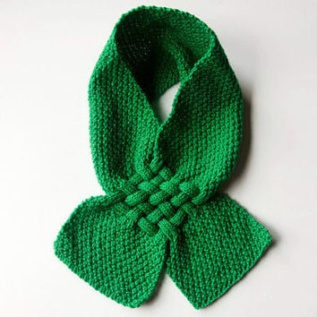 Green Knitted Scarf - Kids Scarves - Hand Knitted Wrap - For Girls and Boys -  Winter Accessories - Boy / Girl - Handmade Wool Scarves