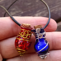 Gamer Geek Blue And Red Health And Mana Potion Bottles Wire Art Pendant, Rear View Mirror Charm, Wine Bottle Charm, Great Gift