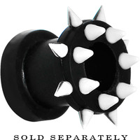 0 Gauge Black White Silicone Spiked Flexible Tunnel | Body Candy Body Jewelry