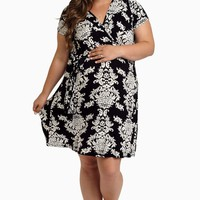 White Black Floral Plus Size Maternity/Nursing Dress