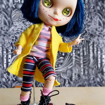 CORALINE - OOAK custom Blythe doll  -  cat companion  - One of a kind - by Blythe Fairy Tales