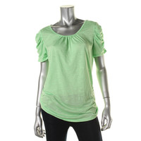 Style & Co. Womens Slub Ruched Pullover Top