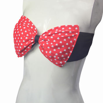 Red Heart Print Bandeau Top