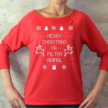 Xmas Letter Print Pullover Sweater