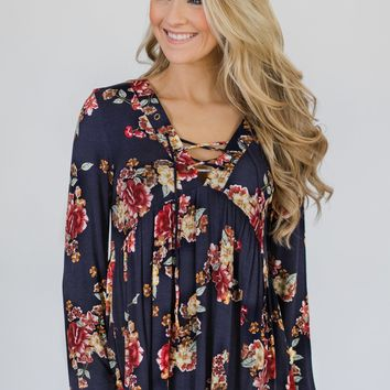Floral Lace Up Babydoll Top- Navy