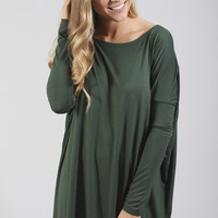 piko: ultimate everyday long sleeve tunic - forest green