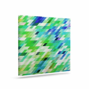 "Dawid Roc ""Colorful Summer Geometric"" Green Abstract Canvas Art"