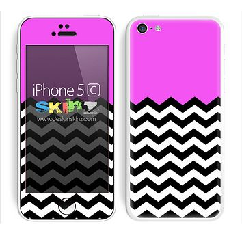 Solid Hot Pink Color and Chevron Pattern Skin For The iPhone 5c