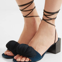 Mercedes Castillo - Riza leather-trimmed appliquéd suede sandals