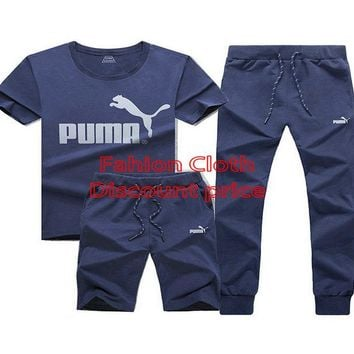 Puma New Style Clothing TREFOIL T-SHIRT Three-Piece Suit Blue