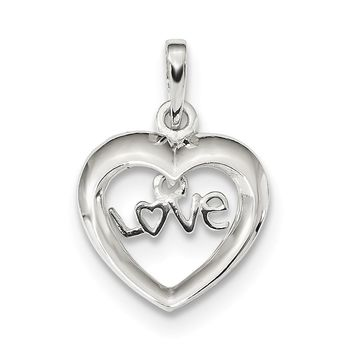925 Sterling Silver Polished Love Heart Shaped Pendant