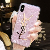 YSL Trending Women Stylish Personality Soft Silicone Phone Cover Case For iphone 6 6s 6plus 6s-plus 7 7plus 8 8plus X Pink I13476-1