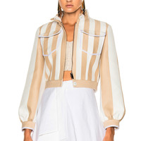 Fendi Cropped Zip Jacket in Beige & White | FWRD