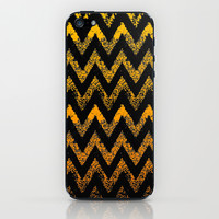 black and gold chevron iPhone & iPod Skin by Marianna Tankelevich