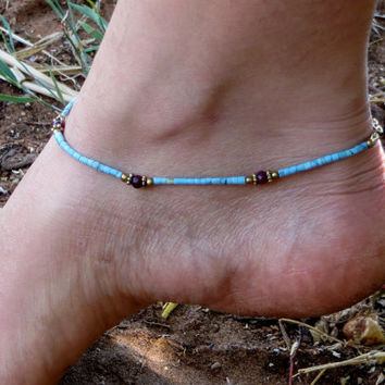 Bohemian Turquoise Anklet, Tribal Anklet, Gemstone Anklet, Ethnic Jewelry, Indian Jewelry, Gypsy Anklet