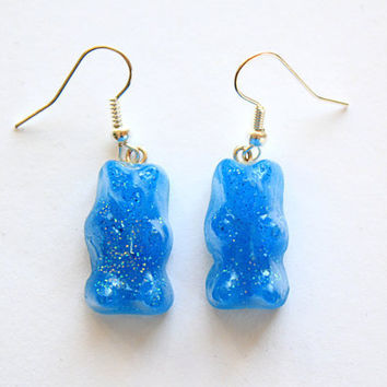 Sparkly Blue Gummy Bear Earrings