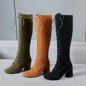 Gotopfashion Women Stretch Slim Thigh Coarse High Boots Sexy Fashion Boots Lace Up High Heels Woman Shoes Coarse Heels