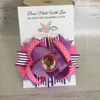 Doc McStuffins Bow Doc McStuffins Birthday Doc Lambie Bow Doc McStuffins Inspired Bow-Girls Hair Bow Disney Bow Doc Birthday Vacation