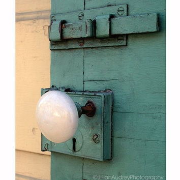 Door Knob Photography,  New Orleand Door Photograph, ocean green teal door, cream white, Rustic Shabby Chic Decor